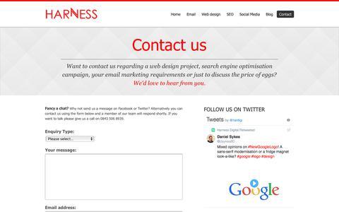 Screenshot of Contact Page harnessdigital.co.uk - Contact Us - Harness Digital - captured July 16, 2018