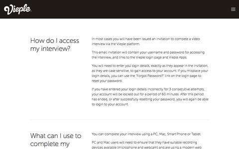 Screenshot of FAQ Page vieple.com - FAQS — Vieple | Video Interviewing Platform - captured Oct. 20, 2017