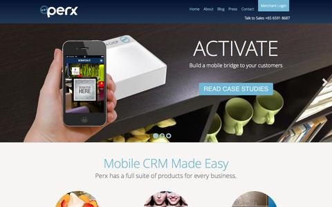Screenshot of Home Page getperx.com - Mobile CRM | Mobile Loyalty | Perx - captured Sept. 23, 2014