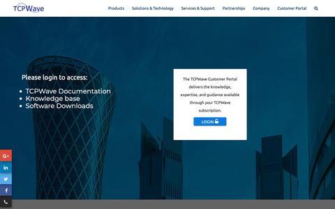 Screenshot of Login Page tcpwave.com - TCPWave Customer Portal Login - captured Oct. 19, 2018