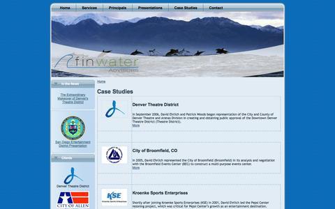 Screenshot of Case Studies Page finwater.com - Case Studies | FinWater Advisors - captured Oct. 5, 2014