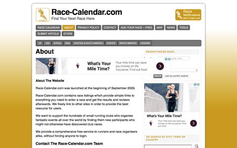 Screenshot of About Page race-calendar.com - Free Directory and Calendar for Running Events and Marathons - captured Oct. 31, 2017