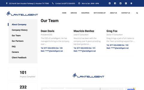 Screenshot of Team Page lantelligent.net - Lantelligent's Houston Team - captured July 16, 2018