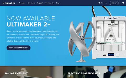 Screenshot of Home Page ultimaker.com - Ultimaker: 3D Printers - captured Jan. 12, 2016