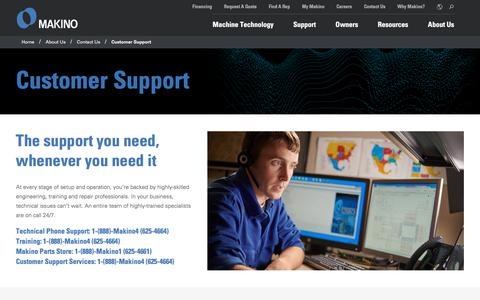 Screenshot of Support Page makino.com - Customer Support   Makino - captured Sept. 9, 2018