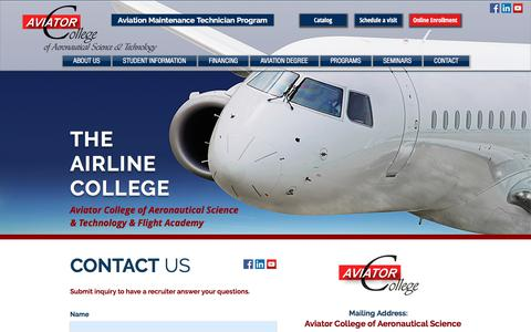Screenshot of Contact Page aviator.edu - The Airline College - Aviation College - Flight School in Florida, USA - captured Oct. 9, 2017