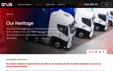 Screenshot of About Page axisfleetmanagement.co.uk - Our Heritage | Axis Fleet Management - captured Oct. 4, 2018