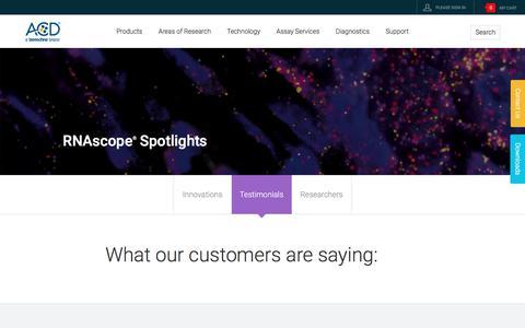 Screenshot of Testimonials Page acdbio.com - Customers | In Situ Hybridization, RNA-ISH | ACDBio - captured July 30, 2017