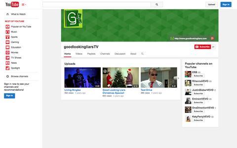 Screenshot of YouTube Page youtube.com - goodlookingliarsTV  - YouTube - captured Oct. 22, 2014