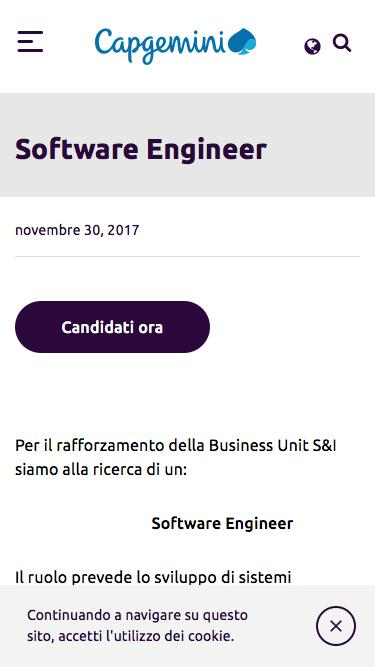 Screenshot of Jobs Page  capgemini.com - Software Engineer – Capgemini Italia