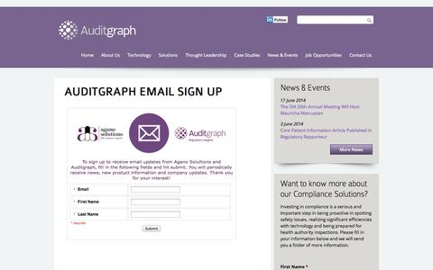 Screenshot of Signup Page auditgraph.com - Auditgraph Email Sign Up   Auditgraph - captured Oct. 4, 2014