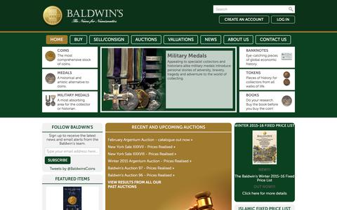 Screenshot of Home Page baldwin.co.uk - Baldwin's - Buy and Sell Rare Coins -   Gold, Silver and Bronze - Medals, Banknotes and Tokens by fixed price and at auction. - captured Feb. 2, 2016