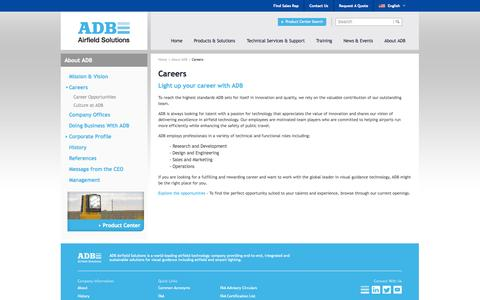 Screenshot of Jobs Page adb-air.com - Career Opportunities & Job Openings with ADB Airfield Solutions  - ADB Airfield Solutions - Global Airport & Airfield Lighting Products - captured Sept. 22, 2014