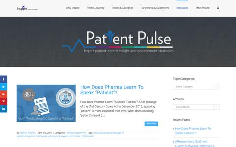 Screenshot of Blog inspire.com - Inspire Blog | Patient Pulse: Expert Patient-Centric Insight and Engagement Strategies - captured April 7, 2017