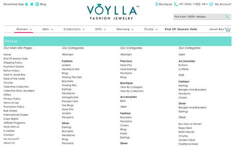 Screenshot of Site Map Page voylla.com - Jewellery Store: Buy Designer Artificial Jewelry for Women & Men Online | Voylla - captured June 20, 2017