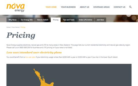 Screenshot of Pricing Page novaenergy.co.nz - Pricing   Nova Energy – providing great value energy to New Zealand - captured Nov. 5, 2014