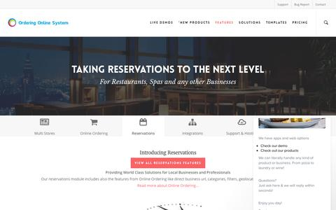 Screenshot of orderingonlinesystem.com - Next Level Reservation for Businesses – Ordering Online System - captured March 14, 2017