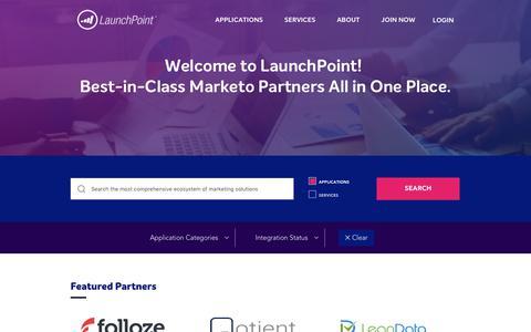 Screenshot of marketo.com - Home » Marketo LaunchPoint® - captured Jan. 18, 2018