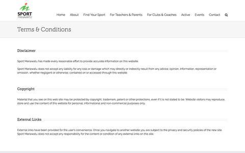 Screenshot of Terms Page sportmanawatu.org.nz - Terms & Conditions | Sport Manawatu - captured Sept. 21, 2018