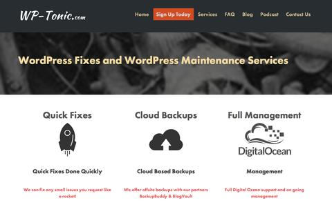 Screenshot of Services Page wp-tonic.com - WordPress Fixes and WordPress Maintenance Services | WP-Tonic - captured May 2, 2017