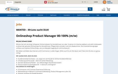 Screenshot of Jobs Page mrlens.ch - Jobs - captured Oct. 21, 2018