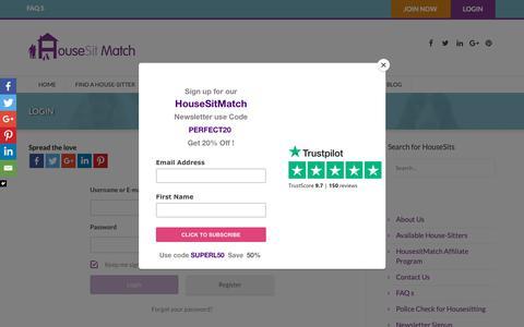 Screenshot of Login Page housesitmatch.com - Login - Housesit Match - captured Sept. 30, 2018