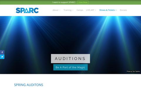 Screenshot of Signup Page sparcrichmond.org - Auditions | SPARC - captured Nov. 22, 2018