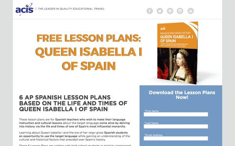 Screenshot of Landing Page acis.com - AP Spanish Lesson Plans - Queen Isabella I of Spain - captured April 9, 2018