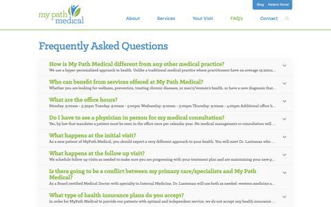 Screenshot of FAQ Page mypathmedical.com - FAQ's | Dr. Katherine Lantsman, MD - Boston alternative, functional, and integrative medicine - My Path Medical Wellness Center - captured Oct. 20, 2018