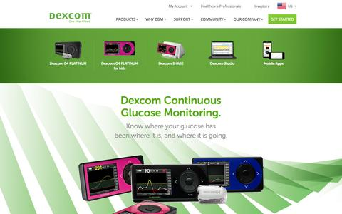 Screenshot of Products Page dexcom.com - Dexcom - Continuous Glucose Monitoring Devices & Systems | Dexcom - captured Oct. 31, 2014