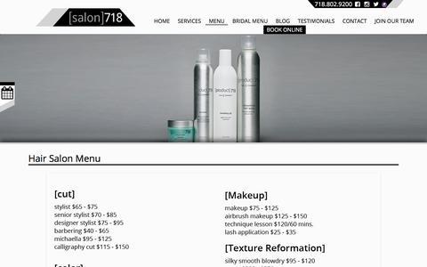 Screenshot of Menu Page salon718.com - Hair Salon & Makeup Services Menu - [salon]718 Brooklyn, New York - captured July 27, 2018