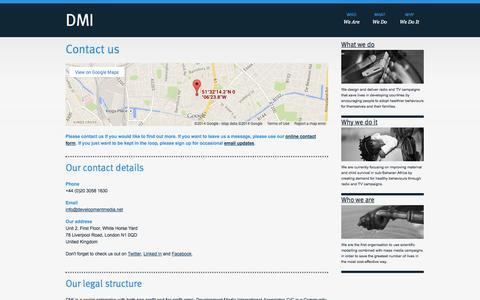 Screenshot of FAQ Page developmentmedia.net - Contact us   DMI - captured Oct. 5, 2014