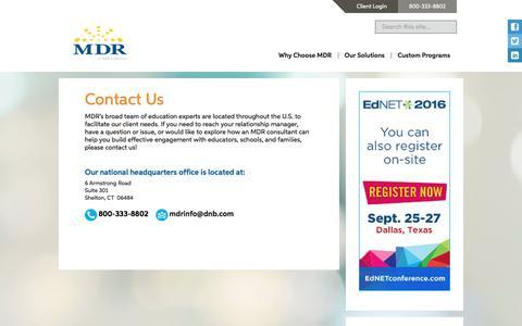 Screenshot of Contact Page schooldata.com - Contact Us - schooldata schooldata - captured Sept. 7, 2016