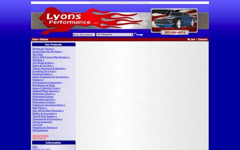 Screenshot of Site Map Page lyonsperformance.com - American Manufactured Auto, Truck, Marine Racing & Performance Products - captured Nov. 2, 2014