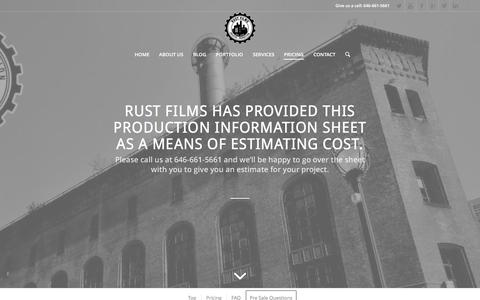 Screenshot of Pricing Page rustcompany.com - PRICING | The Rust Company - captured Feb. 15, 2016
