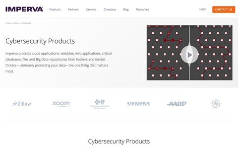 Screenshot of Products Page imperva.com - Cybersecurity Products | Application and Data Protection | Imperva - captured Nov. 22, 2018