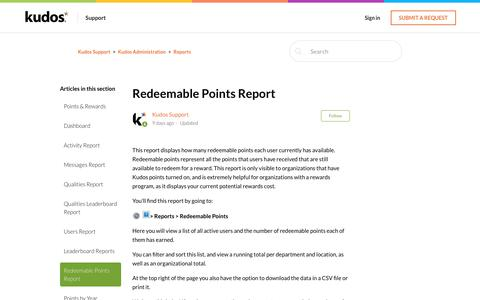 Screenshot of Support Page kudosnow.com - Redeemable Points Report – Kudos Support - captured July 8, 2019