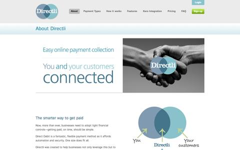 Screenshot of About Page directli.co.uk - About Directli •• Directli online Direct Debit processing - captured Sept. 25, 2014