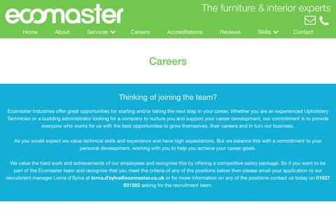 Screenshot of Jobs Page ecomaster.co.uk - Careers - Ecomaster - captured July 15, 2017