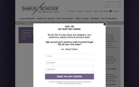Screenshot of FAQ Page scheuerlinens.com - FAQ - captured Feb. 4, 2016