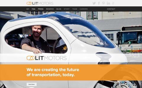 Screenshot of Home Page litmotors.com - Home   Lit Motors - captured Jan. 15, 2015