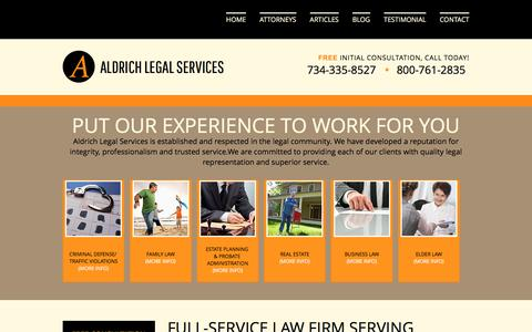 Screenshot of Home Page aldrichlegalservices.com - Plymouth Family Law & Criminal Defense Lawyer | Aldrich Legal Services - captured Dec. 24, 2015