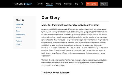 Screenshot of About Page stockrover.com - Our Story - Stock Rover - captured Dec. 14, 2016