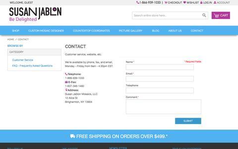 Screenshot of Contact Page susanjablon.com - Glass Tiles, Custom Glass Mosaic Tile - Contact Susan Jablon Mosaics - captured Jan. 11, 2016