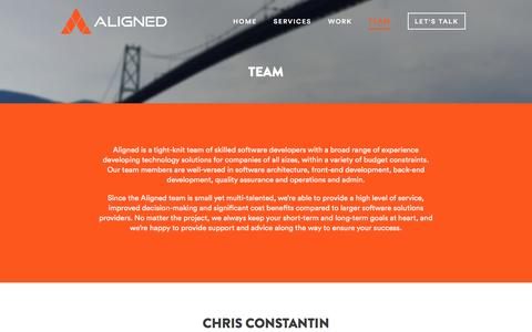 Screenshot of Team Page aligned.io - Team - Aligned Software Solutions Inc. - captured Feb. 5, 2016