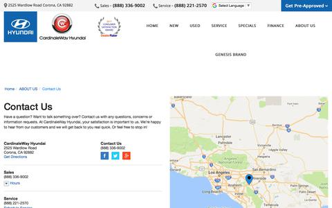 Screenshot of Contact Page Maps & Directions Page cardinalewayhyundai.com - Contact CardinaleWay Hyundai in Corona California - captured Feb. 18, 2018