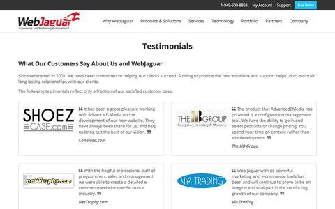 Screenshot of Testimonials Page webjaguar.com - Testimonials - captured June 29, 2017