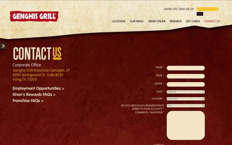 Screenshot of Contact Page genghisgrill.com - Contact Us | - captured July 17, 2018