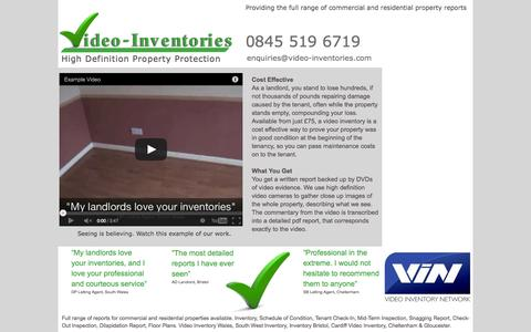 Screenshot of Home Page video-inventories.com - Video Inventories - High Definition Property Protection - captured Oct. 9, 2014