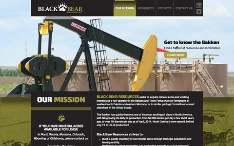 Screenshot of Home Page blackbearresources.com - Black Bear Resources - ND Bakken Oil - captured Jan. 21, 2015